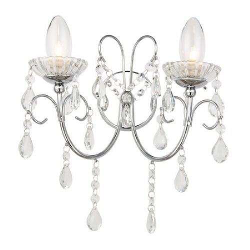 Clear crystal (k9) glass detail & chrome effect plate IP44 Bathroom Wall Light 61385 by Endon